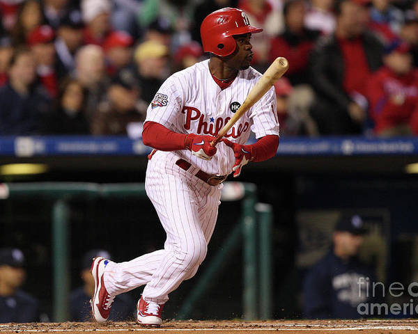 American League Baseball Poster featuring the photograph Jimmy Rollins by Jed Jacobsohn