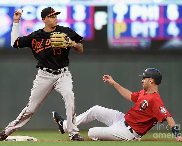Double Play Poster featuring the photograph Joe Mauer and Manny Machado by Hannah Foslien