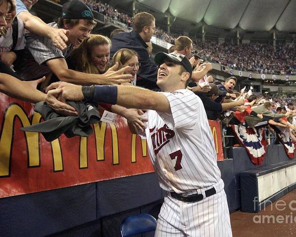 Hubert H. Humphrey Metrodome Poster featuring the photograph Joe Mauer by Jamie Squire