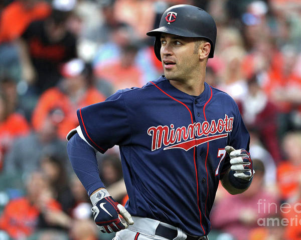 Looking Over Shoulder Poster featuring the photograph Joe Mauer by Patrick Smith