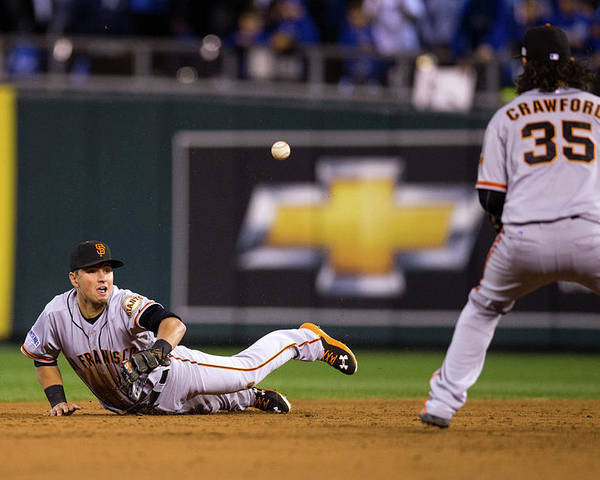 Playoffs Poster featuring the photograph Joe Panik and Brandon Crawford by Brad Mangin
