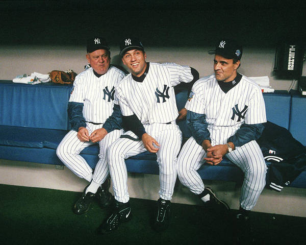 American League Baseball Poster featuring the photograph Joe Torre, Derek Jeter, and Don Zimmer by Rich Pilling