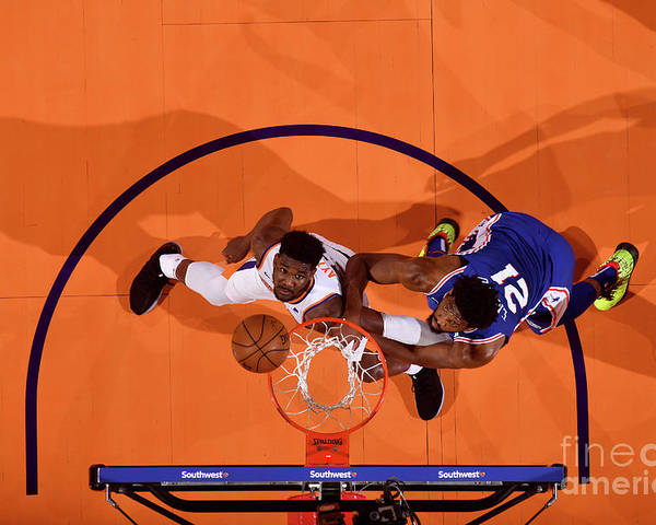 Nba Pro Basketball Poster featuring the photograph Joel Embiid by Barry Gossage