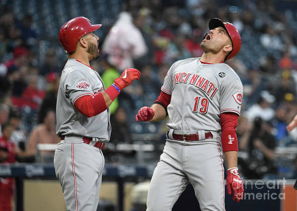 Three Quarter Length Poster featuring the photograph Joey Votto and Eugenio Suarez by Denis Poroy