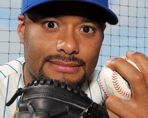 Media Day Poster featuring the photograph Johan Santana by Marc Serota