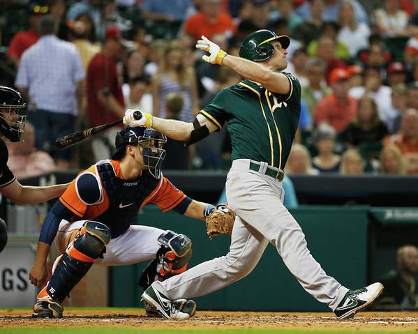 American League Baseball Poster featuring the photograph John Jaso by Scott Halleran