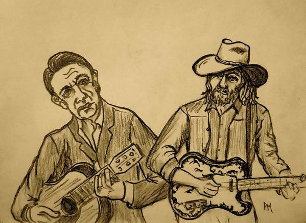 Johnny Cash Poster featuring the drawing Johnny and Waylon by Pete Maier