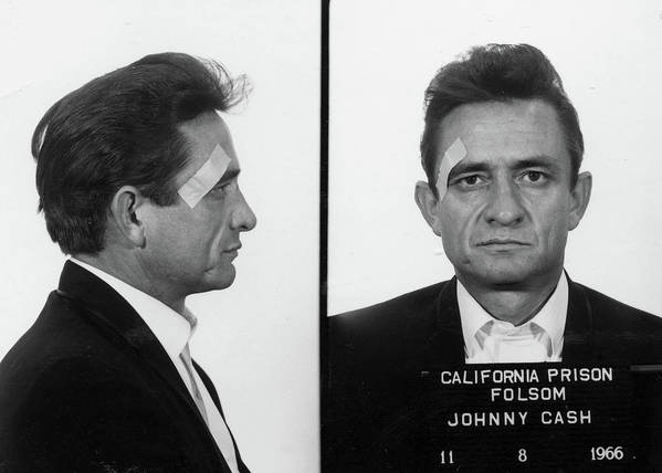 Johnny Cash Poster featuring the painting Johnny Cash Mug shot by Historical Photo