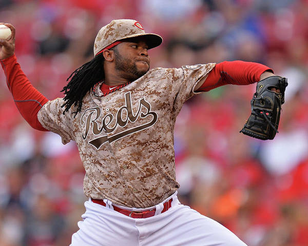 Great American Ball Park Poster featuring the photograph Johnny Cueto by Jamie Sabau