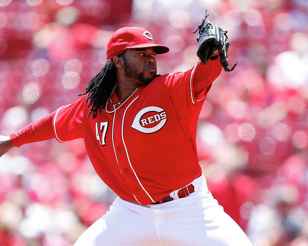 Great American Ball Park Poster featuring the photograph Johnny Cueto by Joe Robbins