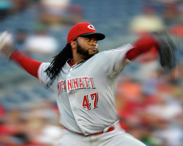 Three Quarter Length Poster featuring the photograph Johnny Cueto by Rob Carr