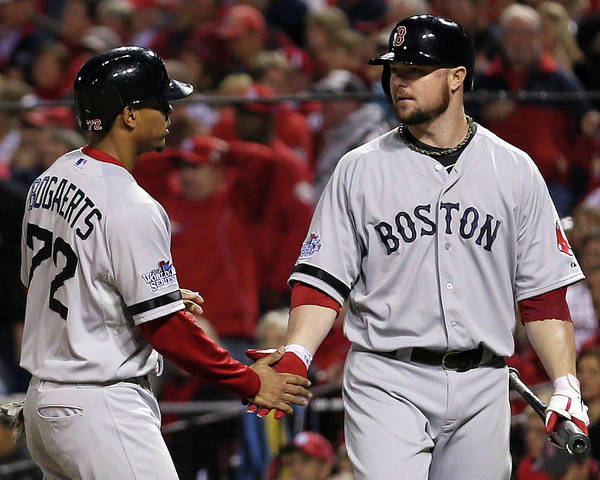 American League Baseball Poster featuring the photograph Jon Lester and Xander Bogaerts by Rob Carr