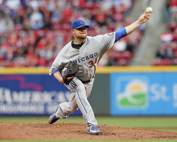 Great American Ball Park Poster featuring the photograph Jon Lester by Andy Lyons