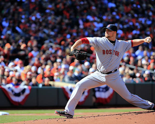 American League Baseball Poster featuring the photograph Jon Lester by Rob Carr