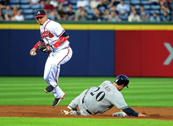 Atlanta Poster featuring the photograph Jonathan Lucroy and Ramiro Pena by Scott Cunningham