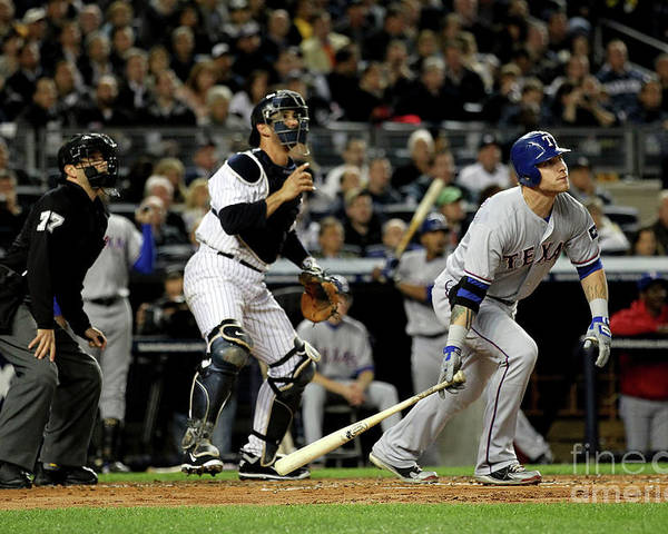 Playoffs Poster featuring the photograph Josh Hamilton and Jorge Posada by Al Bello