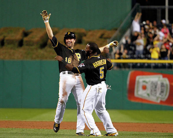 Ninth Inning Poster featuring the photograph Josh Harrison And Neil Walker by Justin K. Aller