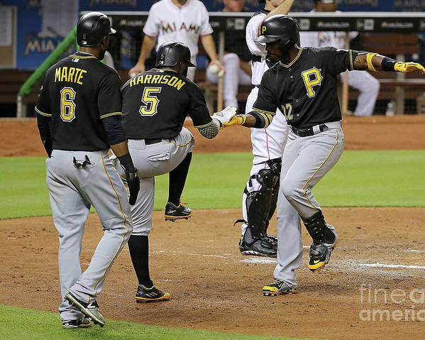 People Poster featuring the photograph Josh Harrison, Andrew Mccutchen, and Starling Marte by Mike Ehrmann