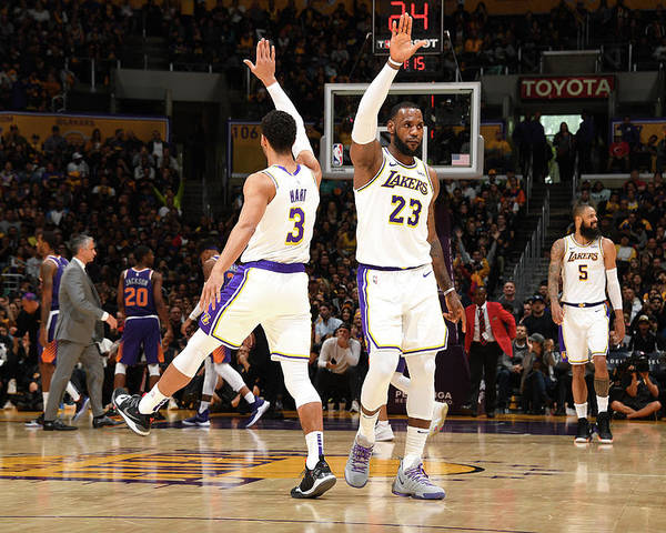 Nba Pro Basketball Poster featuring the photograph Josh Hart and Lebron James by Andrew D. Bernstein