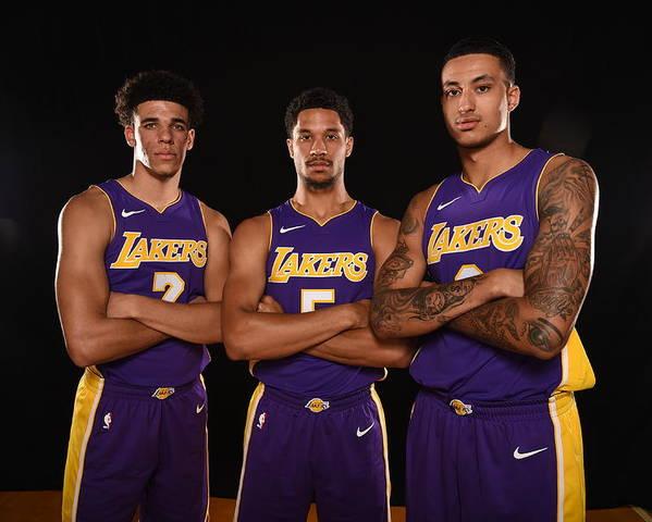 Nba Pro Basketball Poster featuring the photograph Josh Hart, Lonzo Ball, and Kyle Kuzma by Brian Babineau
