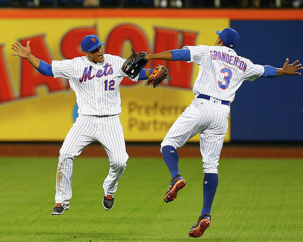 People Poster featuring the photograph Juan Lagares and Curtis Granderson by Jim Mcisaac