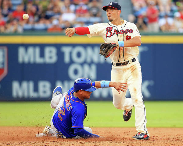 Atlanta Poster featuring the photograph Juan Lagares and Jace Peterson by Daniel Shirey