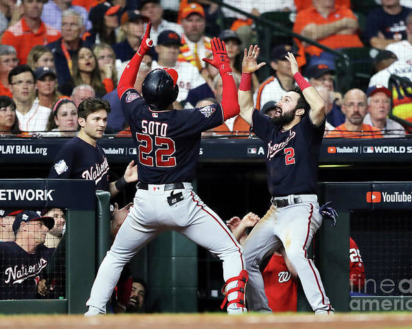 American League Baseball Poster featuring the photograph Juan Soto and Adam Eaton by Elsa