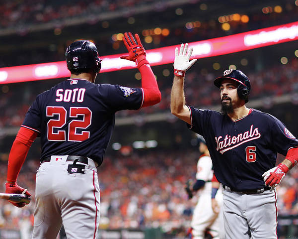 American League Baseball Poster featuring the photograph Juan Soto and Anthony Rendon by Mike Ehrmann