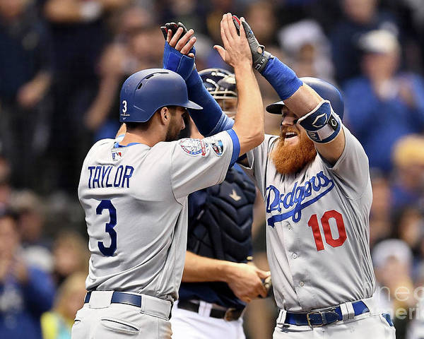 Game Two Poster featuring the photograph Justin Turner, Chris Taylor, and Jeremy Jeffress by Stacy Revere