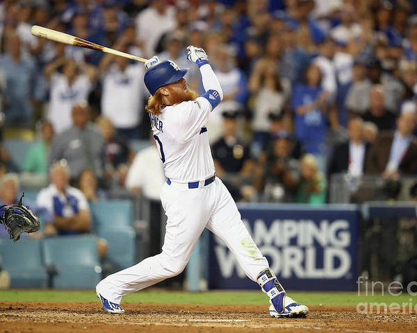 Game Two Poster featuring the photograph Justin Turner by Ezra Shaw