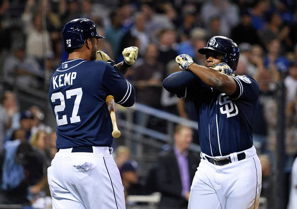 Three Quarter Length Poster featuring the photograph Justin Upton and Matt Kemp by Denis Poroy