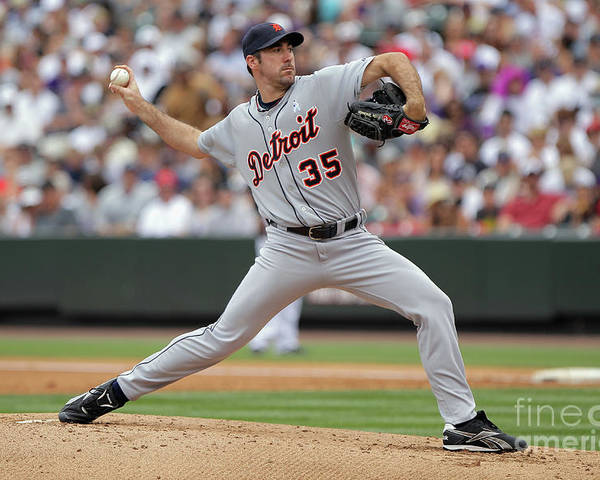Working Poster featuring the photograph Justin Verlander by Doug Pensinger