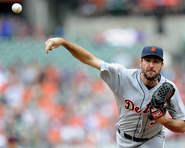 American League Baseball Poster featuring the photograph Justin Verlander by Greg Fiume