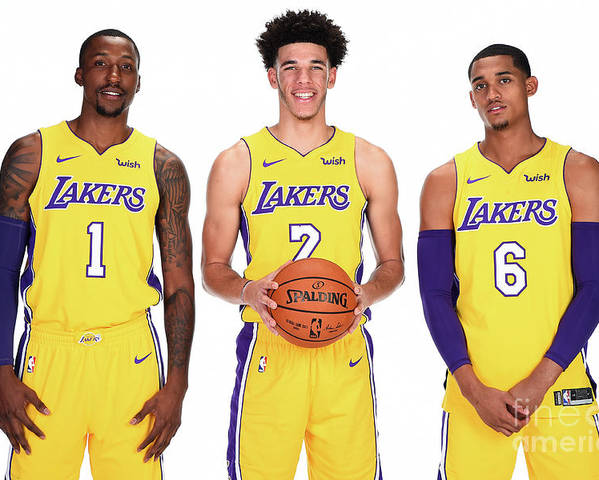 Media Day Poster featuring the photograph Kentavious Caldwell-pope, Jordan Clarkson, and Lonzo Ball by Andrew D. Bernstein