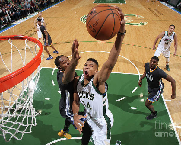 Nba Pro Basketball Poster featuring the photograph Kevin Durant and Giannis Antetokounmpo by Gary Dineen