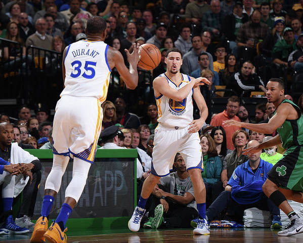 Nba Pro Basketball Poster featuring the photograph Kevin Durant and Klay Thompson by Brian Babineau