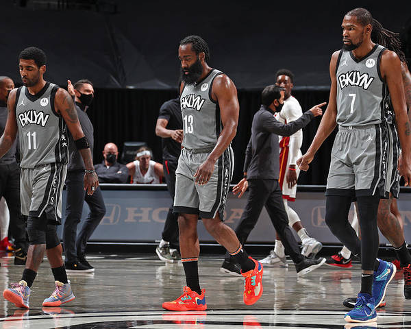 Nba Pro Basketball Poster featuring the photograph Kevin Durant, Kyrie Irving, and James Harden by Nathaniel S. Butler