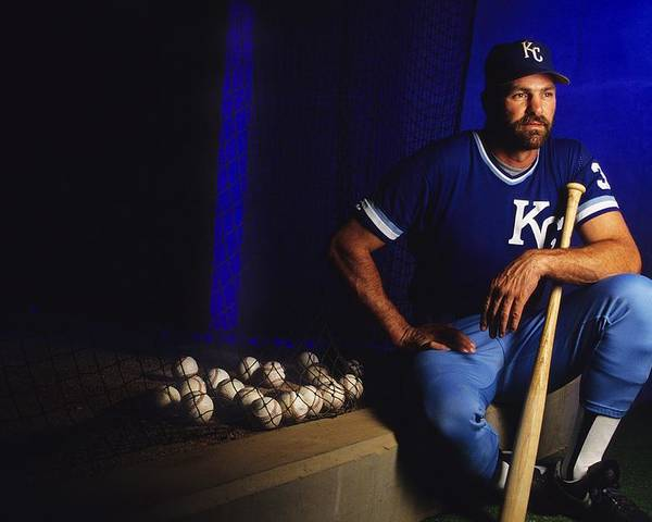 American League Baseball Poster featuring the photograph Kirk Gibson by Ronald C. Modra/sports Imagery