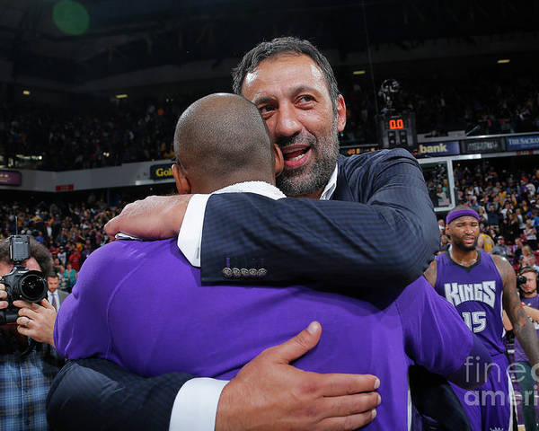 Nba Pro Basketball Poster featuring the photograph Kobe Bryant and Vlade Divac by Rocky Widner