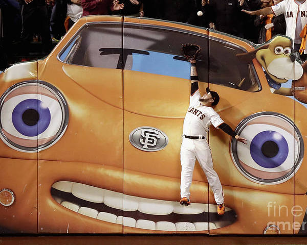 San Francisco Poster featuring the photograph Kris Bryant and Gregor Blanco by Ezra Shaw