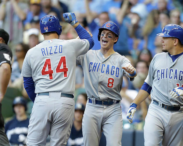 Three Quarter Length Poster featuring the photograph Kyle Schwarber, Anthony Rizzo, and Chris Coghlan by Mike Mcginnis