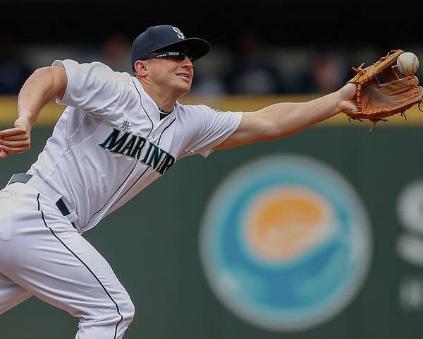 American League Baseball Poster featuring the photograph Kyle Seager and Chris Denorfia by Otto Greule Jr