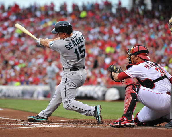 Great American Ball Park Poster featuring the photograph Kyle Seager by Jamie Sabau