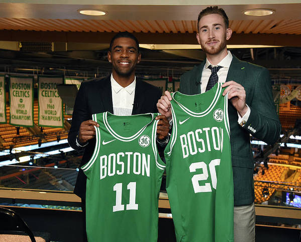 Nba Pro Basketball Poster featuring the photograph Kyrie Irving and Gordon Hayward by Brian Babineau