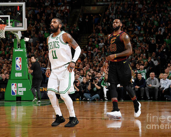 Nba Pro Basketball Poster featuring the photograph Kyrie Irving and Lebron James by Brian Babineau