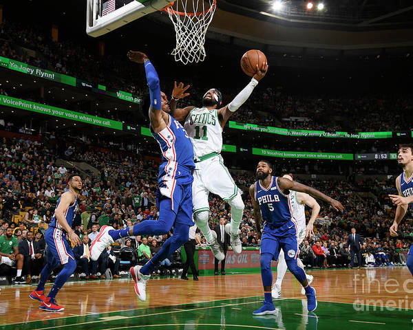 Nba Pro Basketball Poster featuring the photograph Kyrie Irving and Robert Covington by Brian Babineau