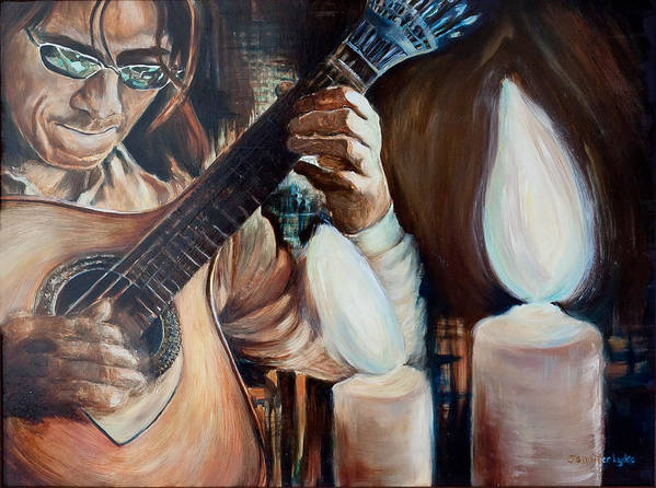 Guitar Poster featuring the painting La Guitarra- Portuguese Guitar by Jennifer Lycke