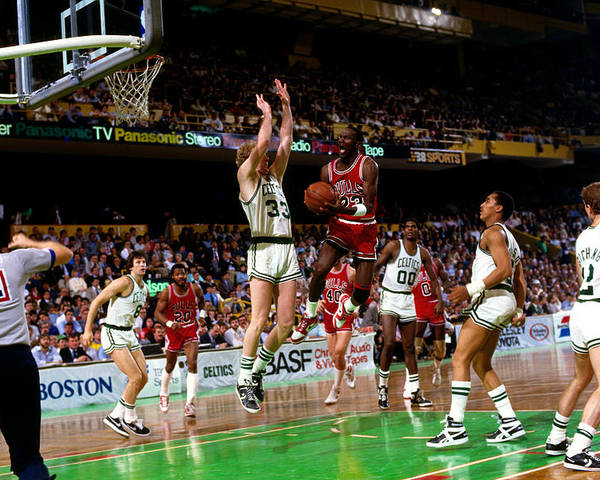Chicago Bulls Poster featuring the photograph Larry Bird and Michael Jordan by Dick Raphael