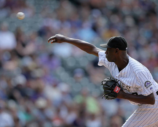 Working Poster featuring the photograph Latroy Hawkins by Doug Pensinger