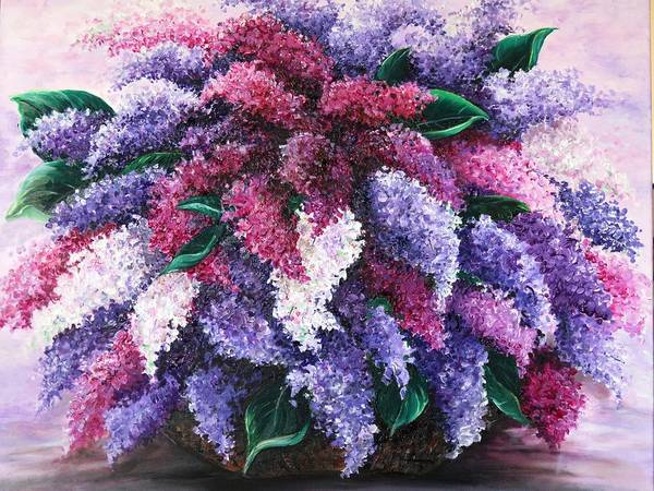 Lilacs Poster featuring the painting Lilac Time by Karin Dawn Kelshall- Best